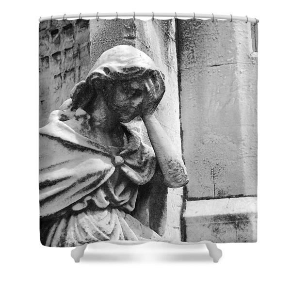 Grieving Statue Shower Curtain by Jennifer Lyon