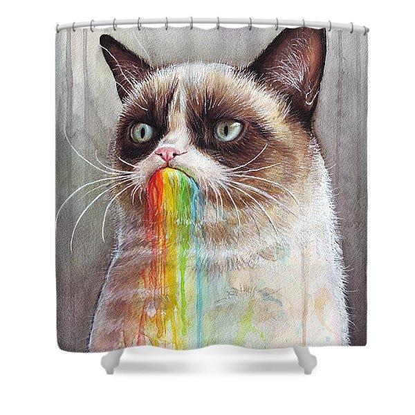 Grumpy Cat Tastes the Rainbow Shower Curtain by Olga Shvartsur