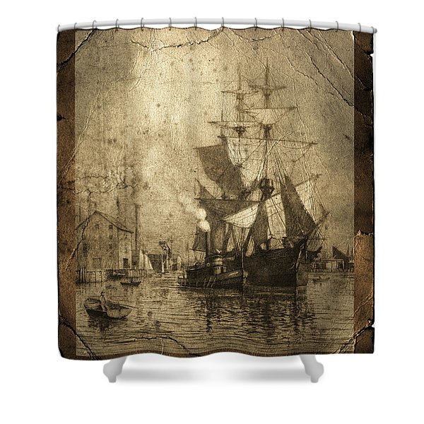 Grungy Historic Seaport Schooner Shower Curtain by John Stephens