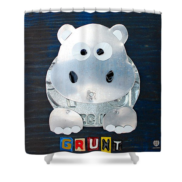 Grunt the Hippo License Plate Art Shower Curtain by Design Turnpike