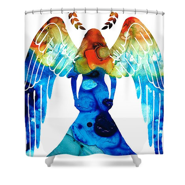 Guardian Angel - Spiritual Art Painting Shower Curtain by Sharon Cummings