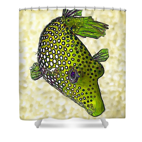 Guinea Fowl Puffer Fish in Green Shower Curtain by Bill Caldwell -        ABeautifulSky Photography