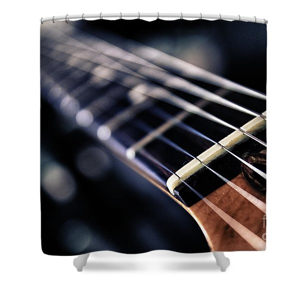 Guitar Strings Shower Curtain by Stylianos Kleanthous