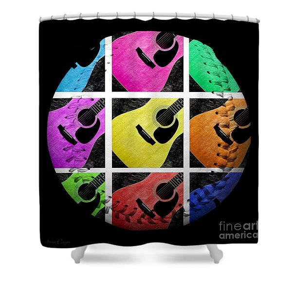 Guitar Tic Tac Toe White Baseball Square Shower Curtain by Andee Design
