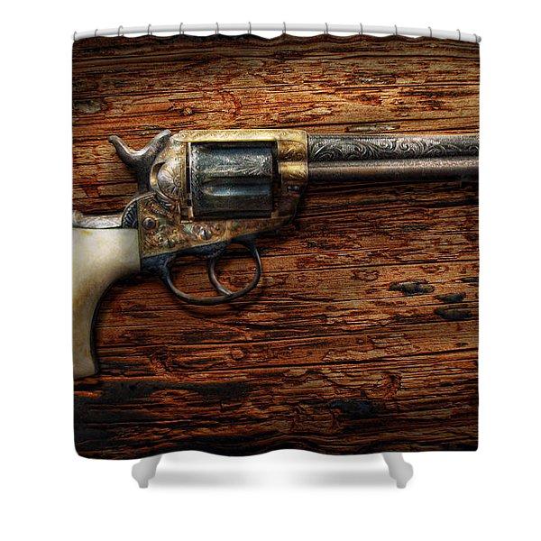 Gun - Police - True Grit Shower Curtain by Mike Savad