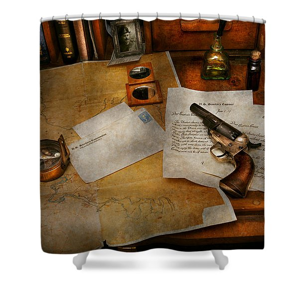 Gun - The Adventure Of Military Life Shower Curtain by Mike Savad