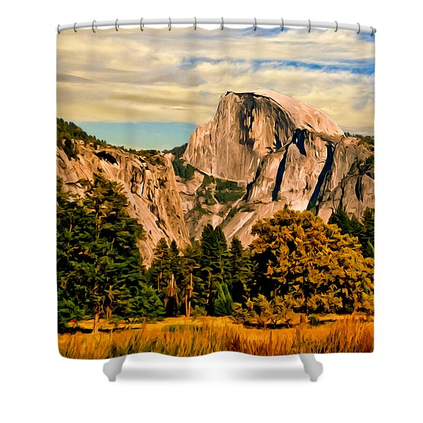 Half Dome Painting Shower Curtain by Bob and Nadine Johnston