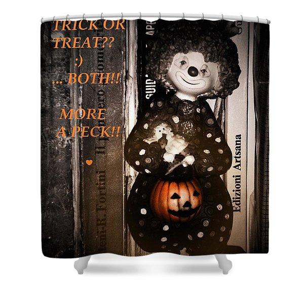 HALLOWEEN CARD Shower Curtain by Donatella Muggianu