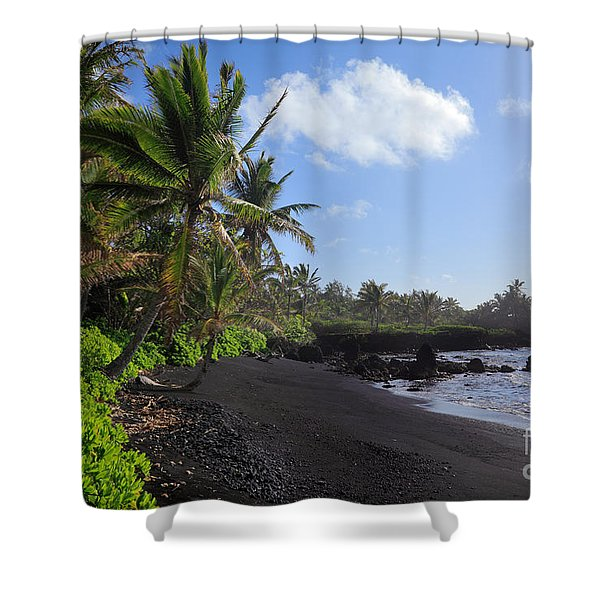 Hana Bay Palms Shower Curtain by Inge Johnsson