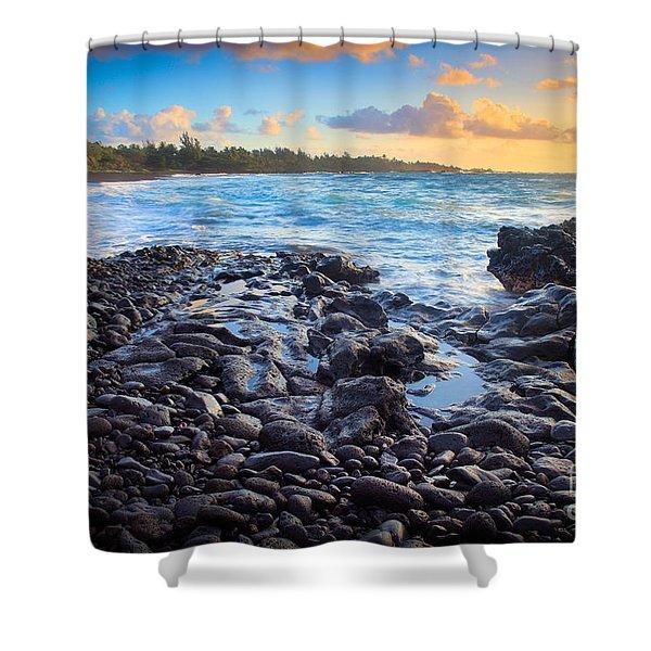 Hana Bay Sunrise Shower Curtain by Inge Johnsson