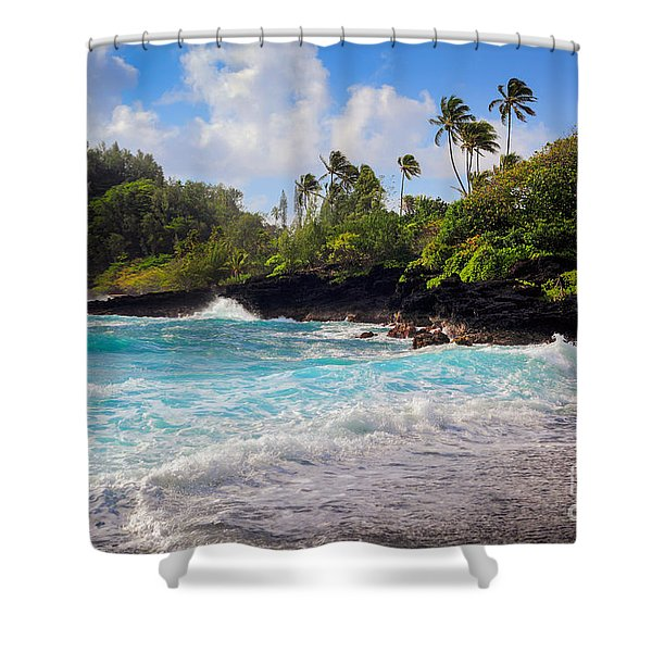 Hana Bay Waves Shower Curtain by Inge Johnsson
