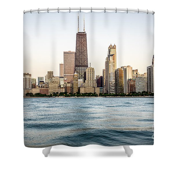 Hancock Building And Chicago Skyline Shower Curtain by Paul Velgos