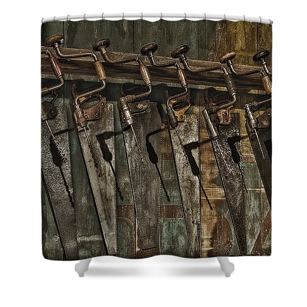 Handy Man Tools Shower Curtain by Susan Candelario