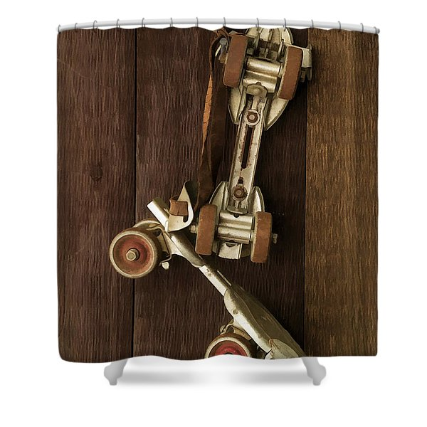 Hang Up Your Skates - Oil Shower Curtain by Edward Fielding