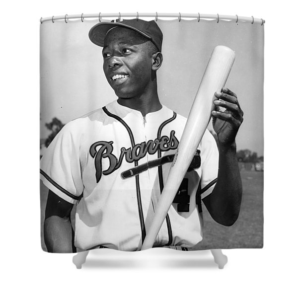 Hank Aaron Poster Shower Curtain by Gianfranco Weiss