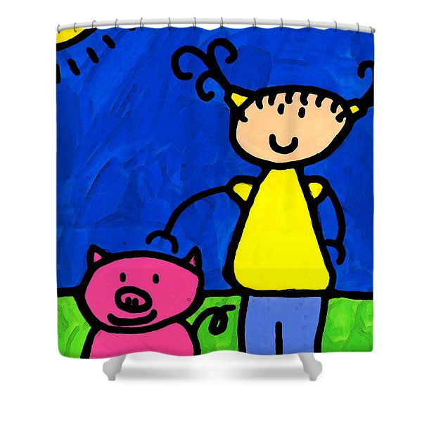 Happi Arte 1 - Girl With Pink Pig Art Shower Curtain by Sharon Cummings