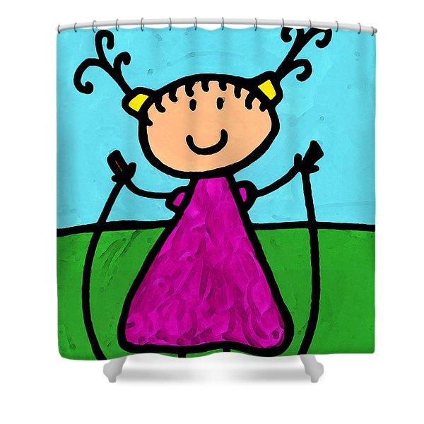 Happi Arte 7 - Girl On Jump Rope Art Shower Curtain by Sharon Cummings