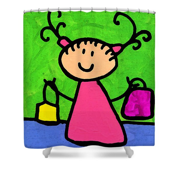 Happi Arti 5 - Shopaholic Little Girl Art Shower Curtain by Sharon Cummings