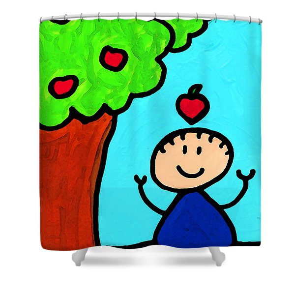 Happi Arti 6 - Sir Isaac Newton Art Shower Curtain by Sharon Cummings