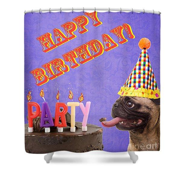 Happy Birthday Card Shower Curtain by Edward Fielding