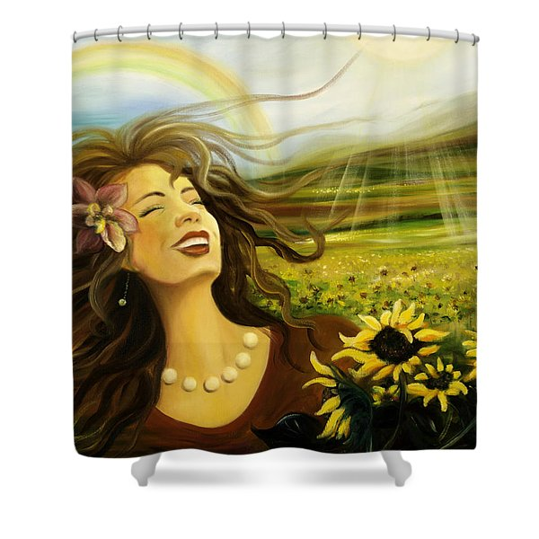 Shower Curtains - Happy Shower Curtain by Gina De Gorna
