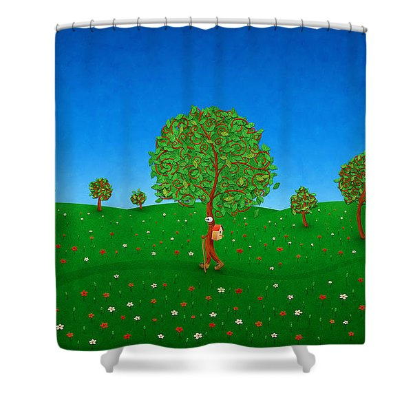 Happy Walking Tree Shower Curtain by Gianfranco Weiss