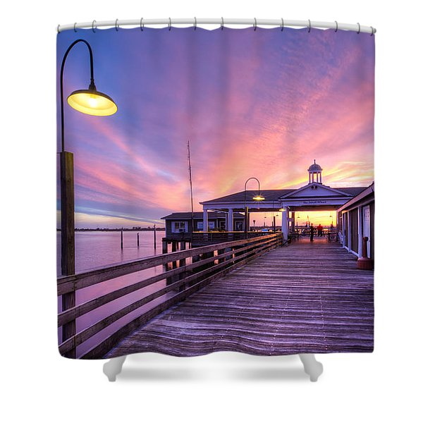 Harbor Lights Shower Curtain by Debra and Dave Vanderlaan