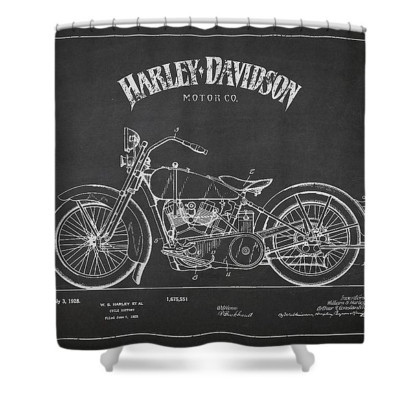 Harley Davidson Motorcycle Cycle Support Patent Drawing From 192 Shower Curtain by Aged Pixel