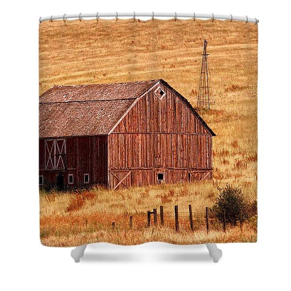 Harvest Barn Shower Curtain by Mary Jo Allen