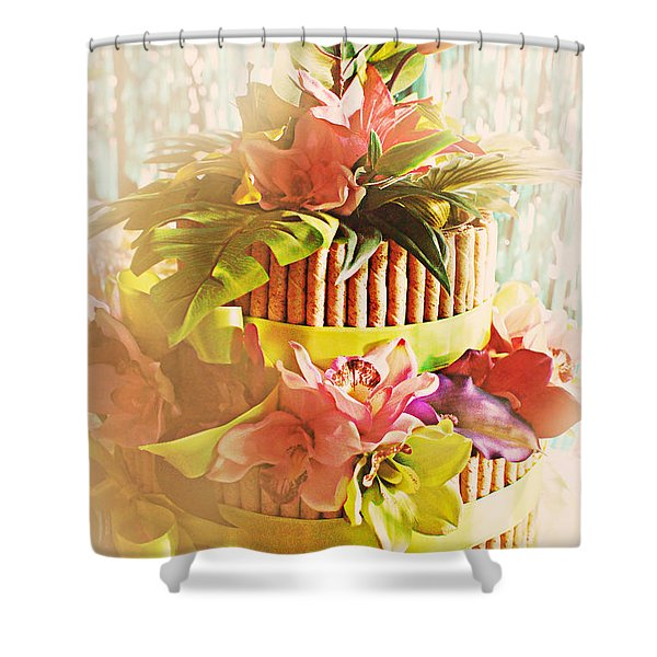 Hawaiian Wedding Cake Shower Curtain by Susan Bordelon