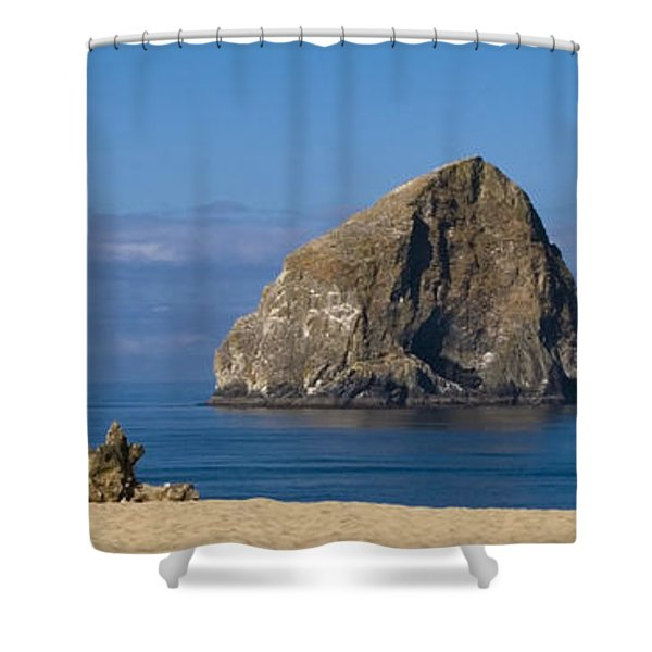 Haystack Rock - Pacific City Oregon Coast Shower Curtain by Brian Harig