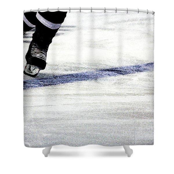 He Skates Shower Curtain by Karol  Livote