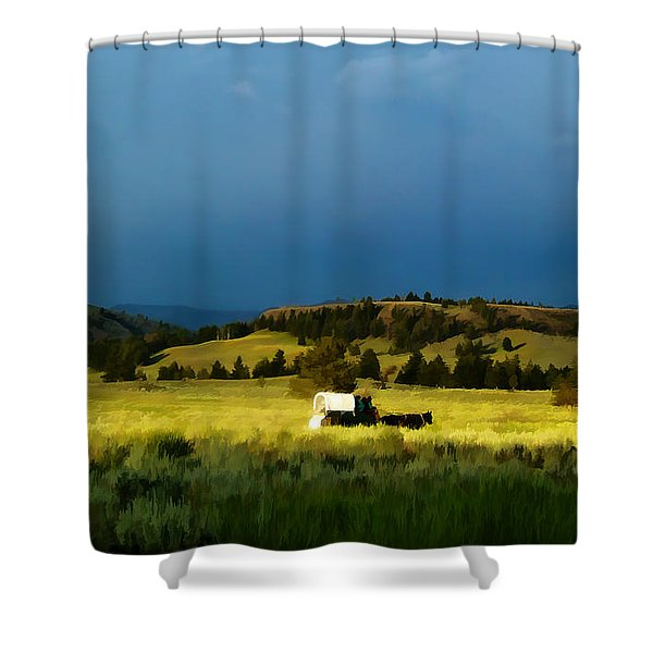 Heading West Shower Curtain by Edward Fielding