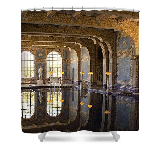 Hearst Castle Roman Pool Reflection Shower Curtain by Heidi Smith