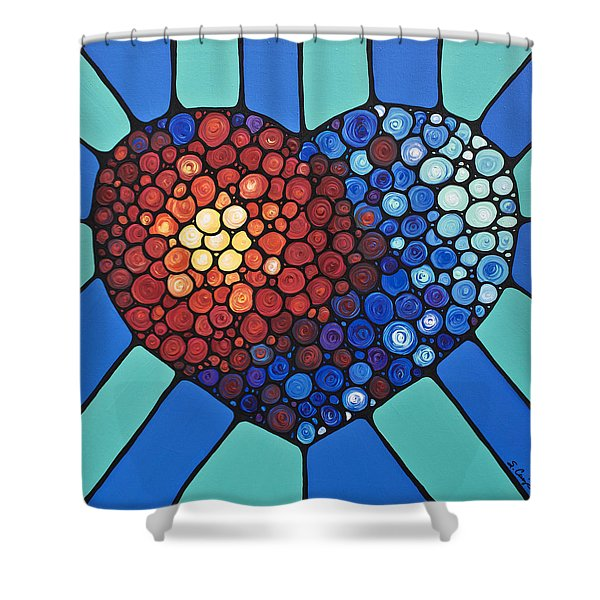 Heart Art - Love Conquers All 2  Shower Curtain by Sharon Cummings
