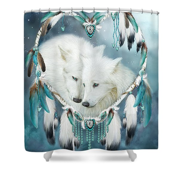 Heart Of A Wolf Shower Curtain by Carol Cavalaris