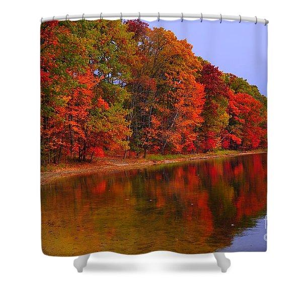Heart Of Autumn Shower Curtain by Terri Gostola
