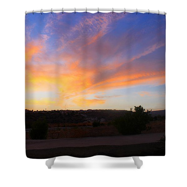 Heart Sunset Shower Curtain by Augusta Stylianou