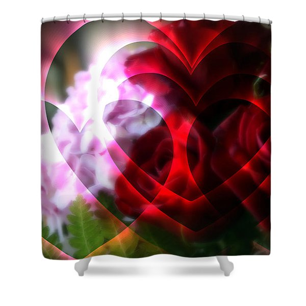 Hearts A Fire Shower Curtain by Kay Novy