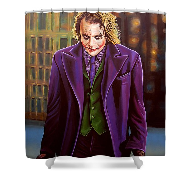 Heath Ledger As The Joker Shower Curtain by Paul  Meijering
