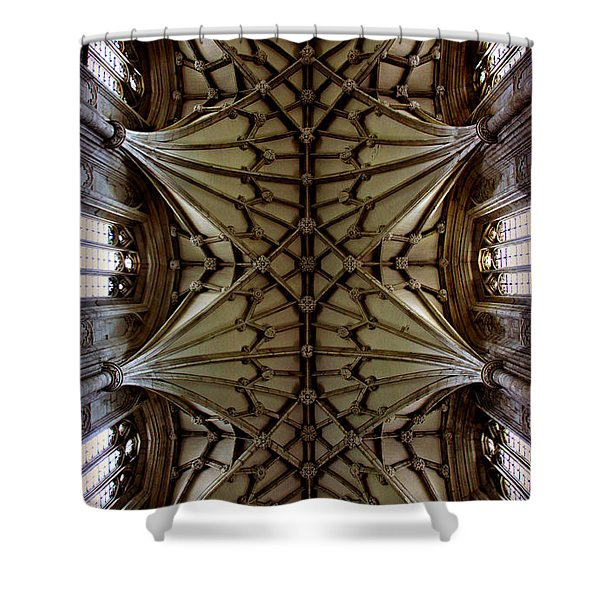 Heavenward -- Winchester Cathedral Ceiling Shower Curtain by Stephen Stookey