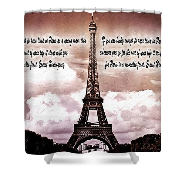 Hemingway And Paris Shower Curtain by Dan Sproul