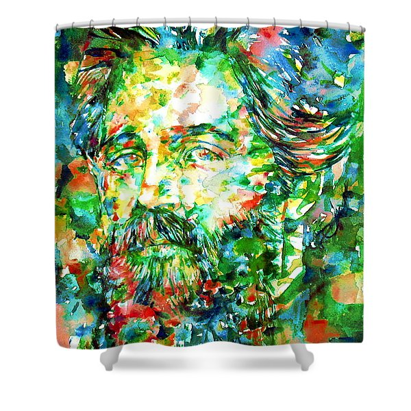 Herman Melville Watercolor Portrait Shower Curtain by Fabrizio Cassetta