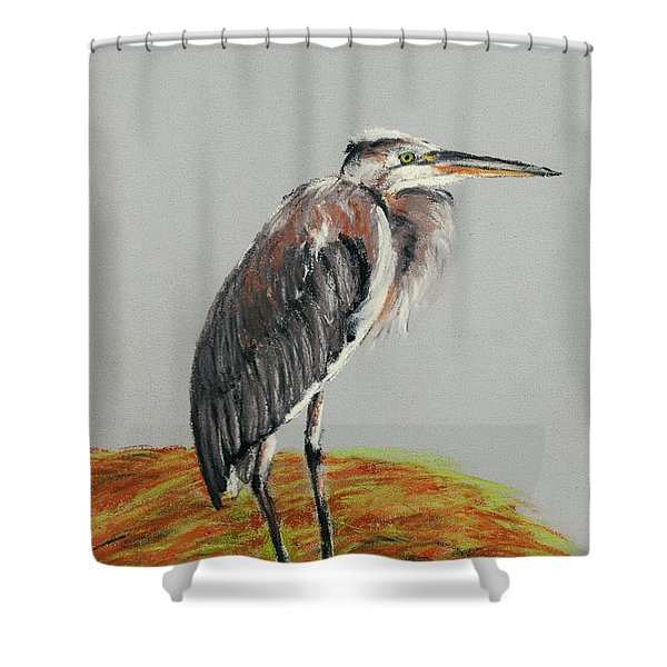Heron Shower Curtain by Anastasiya Malakhova
