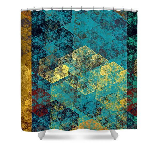 Hexagon Fractal Art Panorama Shower Curtain by Andee Design