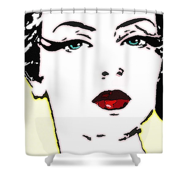 Hi Res Lady Shower Curtain by Chuck Staley