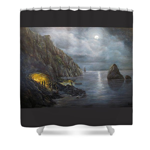 Hiding Treasure Shower Curtain by Donna Tucker