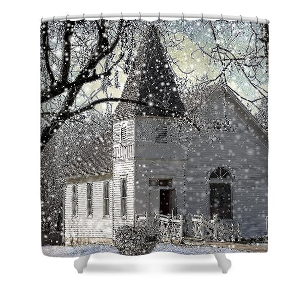 Higgensville Church Shower Curtain by Liane Wright