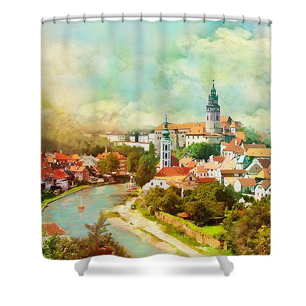 Historic Centre of Cesky Krumlov Shower Curtain by Catf