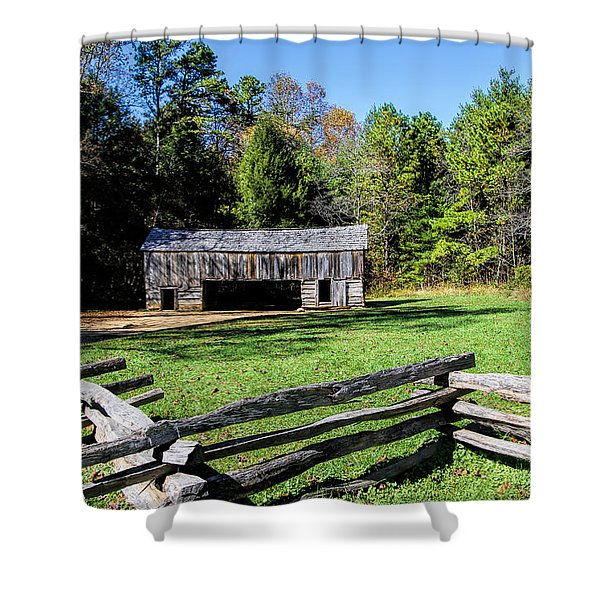 Historical Cantilever Barn At Cades Cove Tennessee Shower Curtain by Kathy Clark